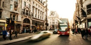 Long exposure image of a bus on a London city street