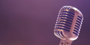 Close-up shot of a retro microphone