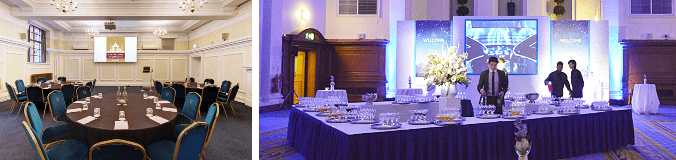Different room set-up examples at a historic London venue