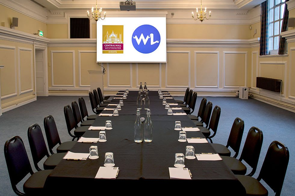 Robert Perks boardroom style layout at Central Hall Westminster