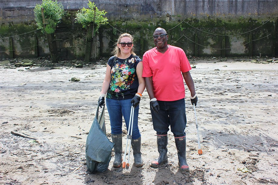 Members of the Central Hall Westminster team cleaning up the Thames bank together