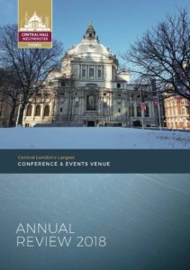 Cover for Central Hall Westminster's annual review in 2018