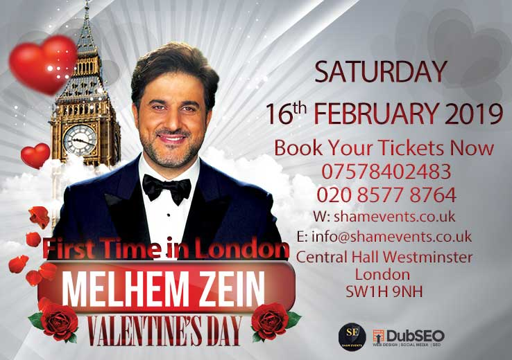 Image of Melhem Zein's 2019 Valentine's Day event at Central Hall Westminster