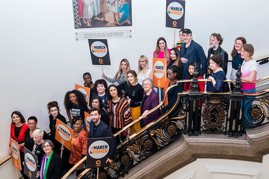 People and celebrities on stairs at Central Hall Westminster #March4Women event