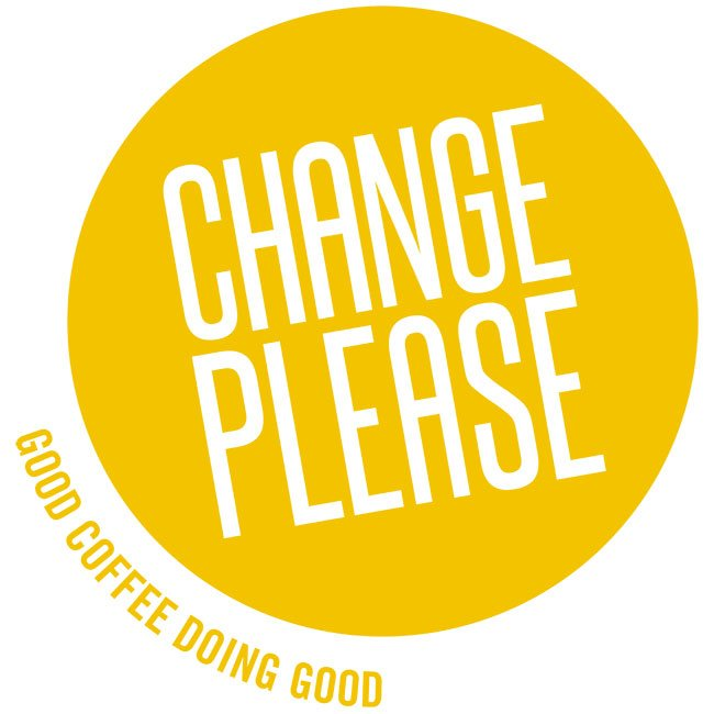 logo for Change Please coffee