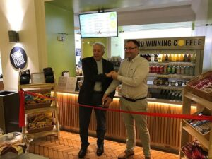 Ribbon cutting for cafe at Central Hall Westminster